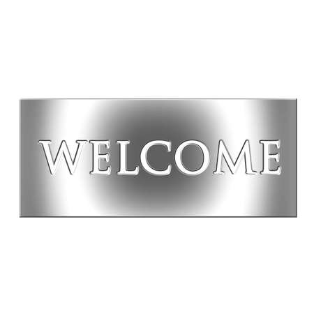 welcome sign: 3D Silver Welcome Sign