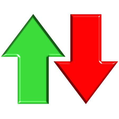indication: 3D Up and Down Arrows Stock Photo
