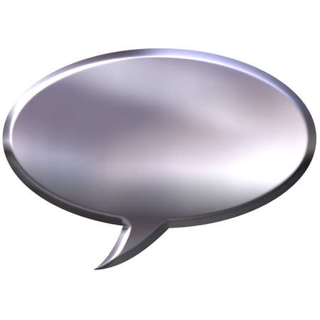 cartooning: 3D Silver Speech Bubble Stock Photo