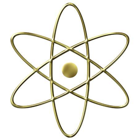 3D Golden Atom Symbol photo