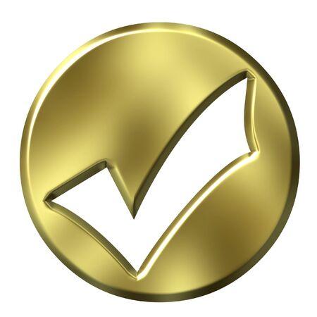 3D Golden Framed Tick Stock Photo - 2368370