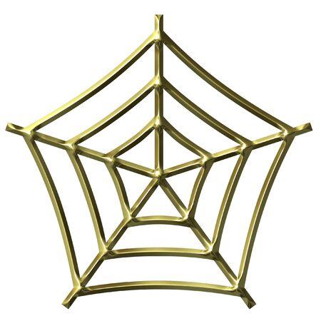 shinning: 3D Golden Spider Web