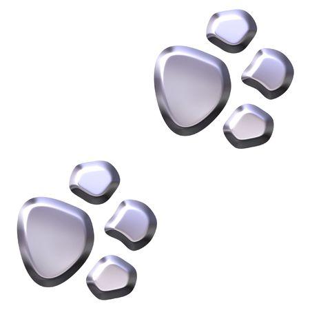 animal foot: 3D Silver Animal Foot Prints  Stock Photo