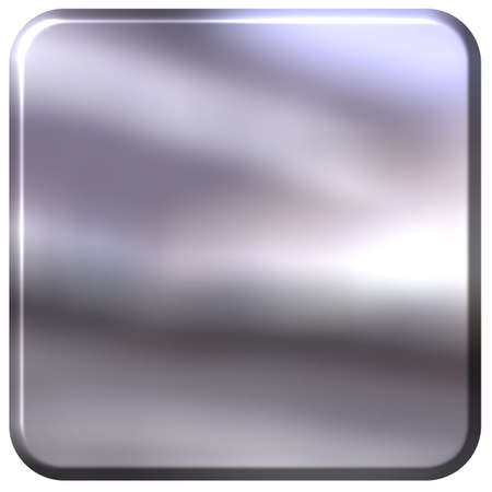 shinning: 3D Silver Square with rounded edges Stock Photo