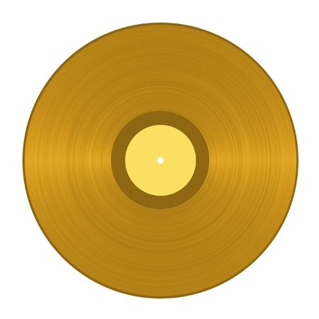 Golden Vinyl Record Stock Photo