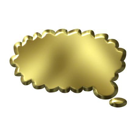 3D Golden Thought Bubble photo