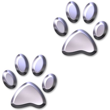 foot path: 3D Silver Animal Foot Prints  Stock Photo