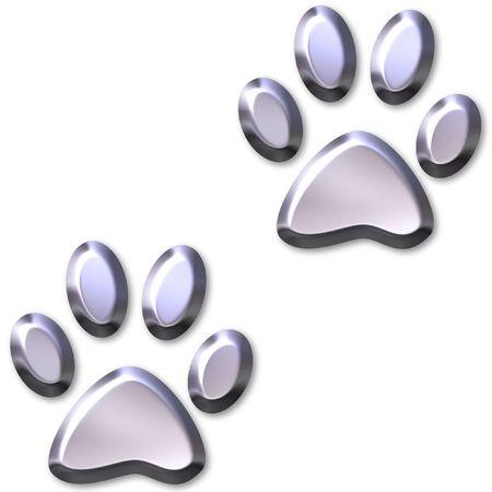 3D Silver Animal Foot Prints Stock Photo - 2368364