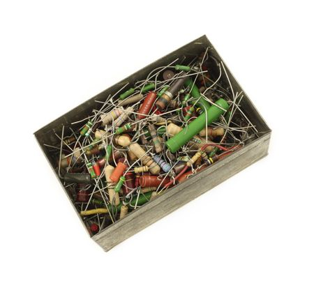 resistors: Box full of electronic resistors isolated in white