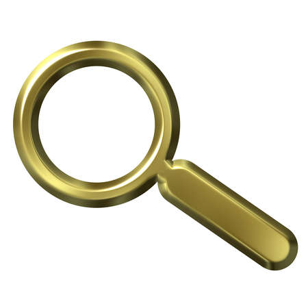 shinning: 3d golden magnifying glass isolated in white