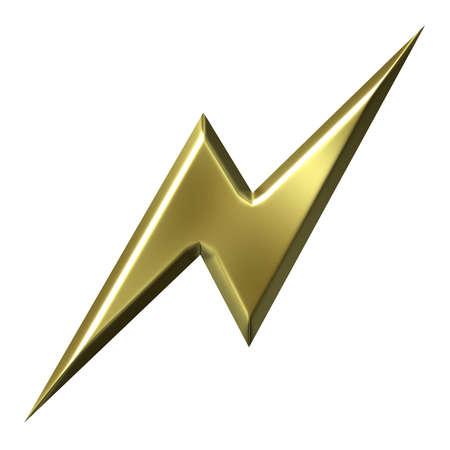jolt: 3d golden thunderbolt isolated in white