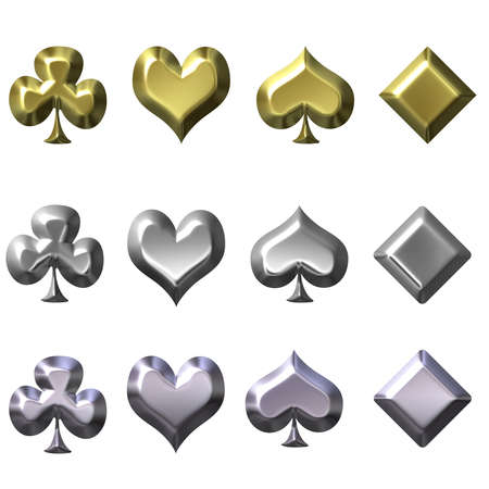 odds: 3d playing card suits in gold silver and chrome
