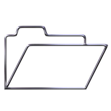 shinning: 3d silver opened folder silhouette