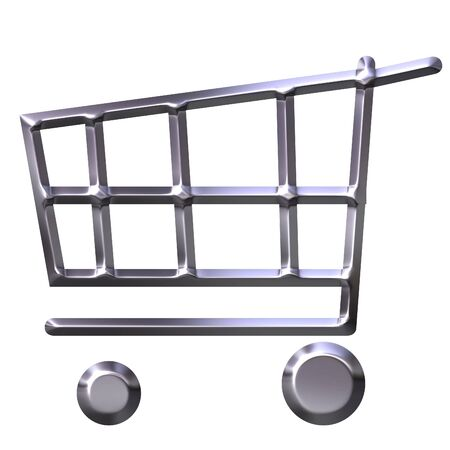 e store: 3d silver shopping cart  Stock Photo