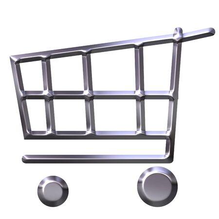 3d silver shopping cart Stock Photo - 2666243