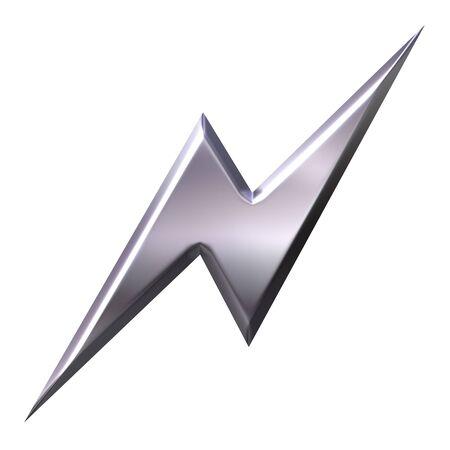 3d silver thunderbolt  Stock Photo