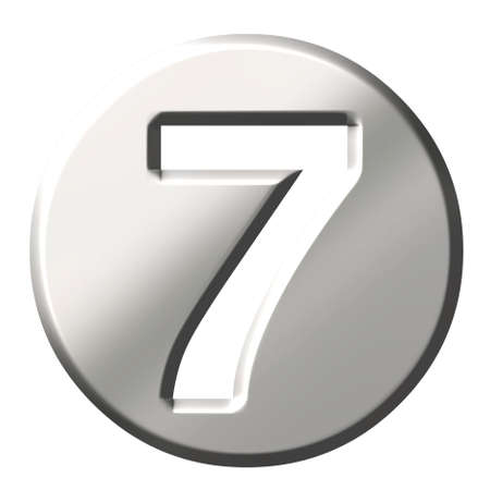 seventh: 3d steel number 7  Stock Photo