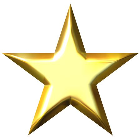 3d golden star isolated in white