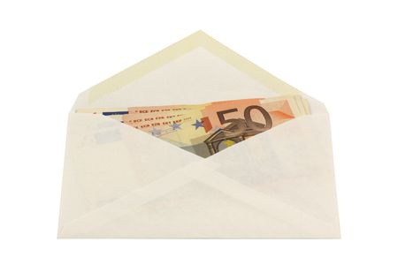 Envelope with 50 euro notes isolated in white photo
