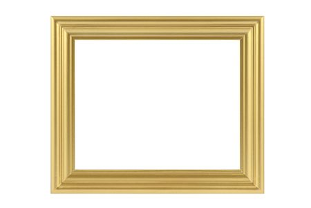 Golden frame isolated in white photo