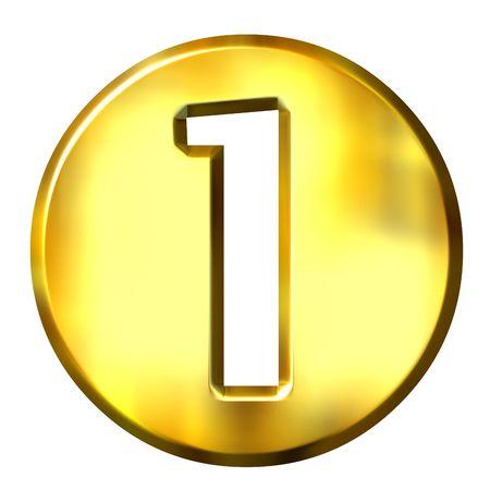 bevel: 3d golden framed number 1 isolated in white Stock Photo