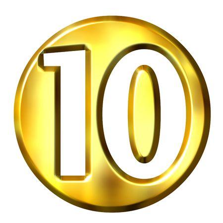 numero diez: 3d dorada enmarcada n�mero 10 aislados en blanco  Foto de archivo