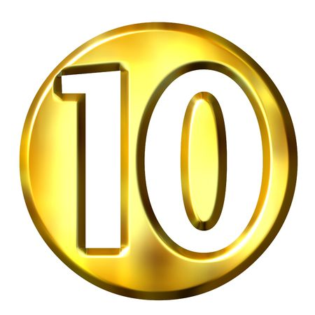 10 number: 3d golden framed number 10 isolated in white