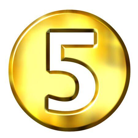 shinning: 3d golden framed number 5 isolated in white
