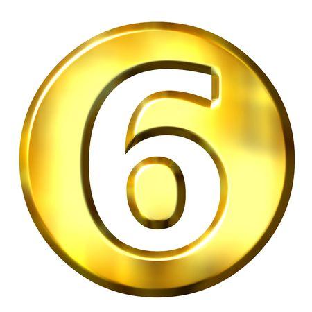 framed: 3d golden framed number 6 isolated in white