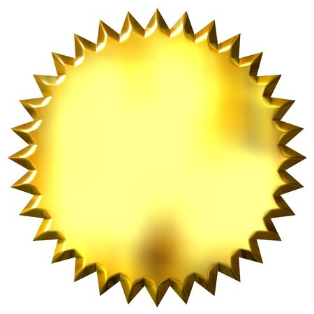 shinning: 3d golden seal isolated in white Stock Photo