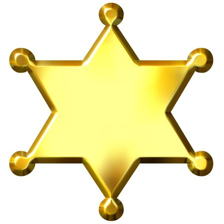 sheriff badge: 3d sheriff de oro  's insignia aislados en blanco