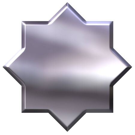 shinning: 3d silver 8 point star isolated in white