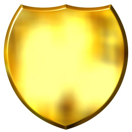 3d golden shield isolated in white
