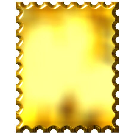 3d golden stamp isolated in white