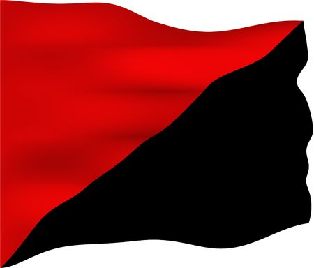 anarchism: Red and black flag, symbol of the anarcho-syndicalist and anarcho-communist movements. Black is the traditional color of anarchism, and red is the traditional color of socialism. Stock Photo