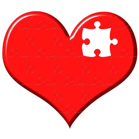 3d heart puzzle with missing piece isolated in white photo
