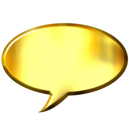 3d golden speech bubble  Stock Photo