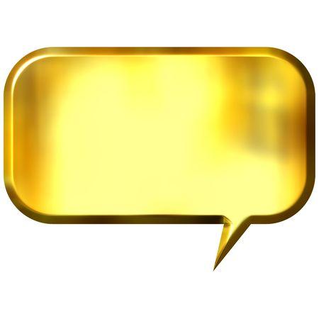 shinning: 3d golden speech bubble  Stock Photo