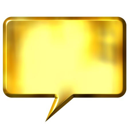 cartooning: 3d golden speech bubble  Stock Photo