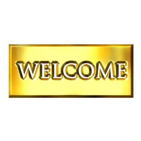 welcome sign: 3d golden welcome sign