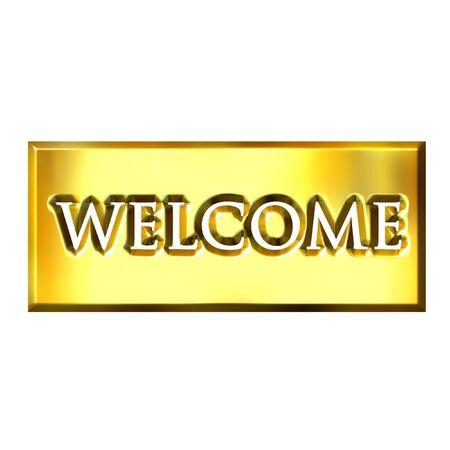 shinning: 3d golden welcome sign