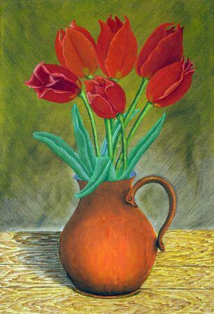 flower vase: Bunch of roses in vase Stock Photo