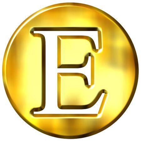 shinning: 3d golden letter E