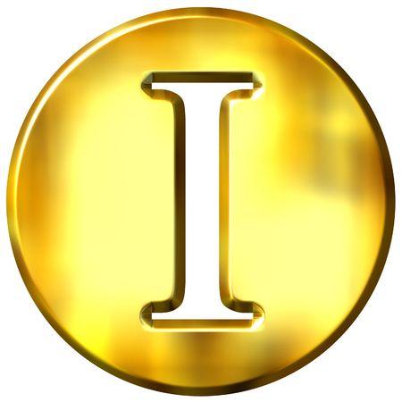 3d golden letter I  photo