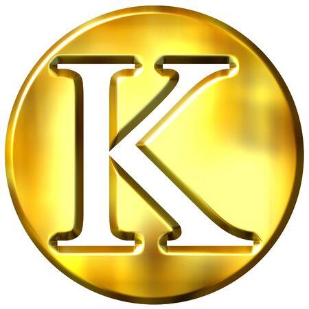shinning: 3d golden letter K