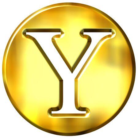 shinning: 3d golden letter Y