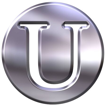 shinning: 3d silver letter U  Stock Photo