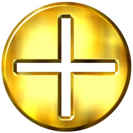 addition symbol: 3d golden framed addition symbol  Stock Photo