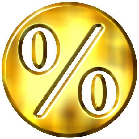 3d golden framed percentage symbol Stock Photo - 3241428