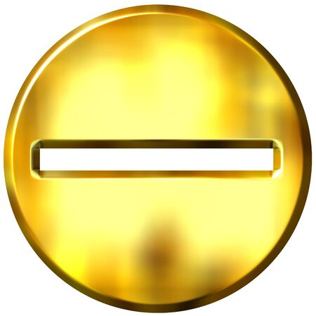 subtraction: 3d golden framed subtraction symbol  Stock Photo